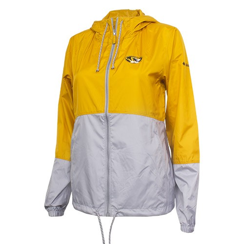 Mizzou Juniors' Gold & Grey Full Zip Hooded Windbreaker