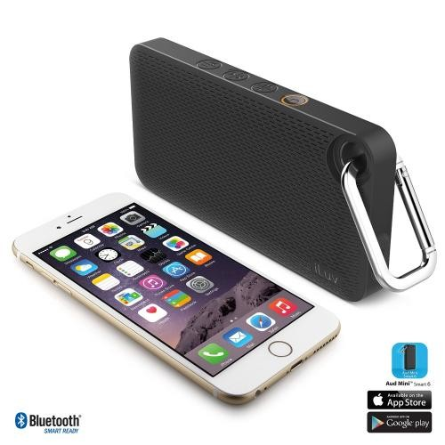 iLuv Aud Mini 6 Black Carabineer Slim Portable Weather-Resistant Bluetooth Speaker for iPhone, iPad, and other Smart Devices