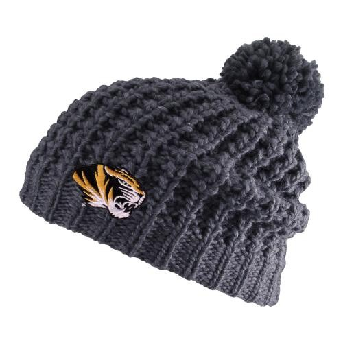 Mizzou Tiger Head Grey Knit Slouch Beanie with Pom