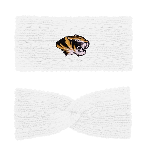 Mizzou Tiger Head White Knit Twist Headband