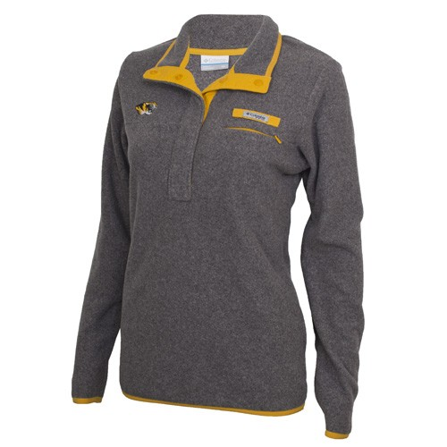 Mizzou Columbia Juniors' Tiger Head Charcoal 1/2 Button Fleece Sweatshirt