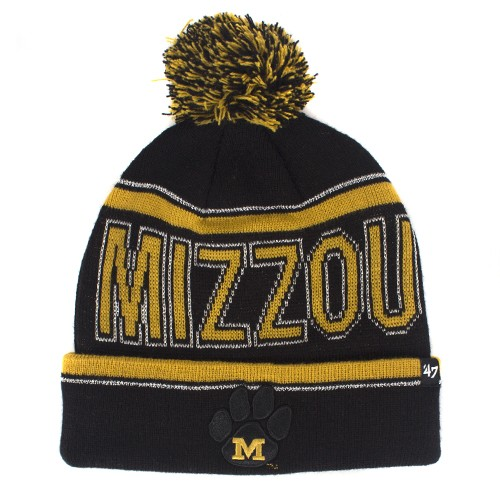 Mizzou Black & Gold Cuffed Beanie with Pom