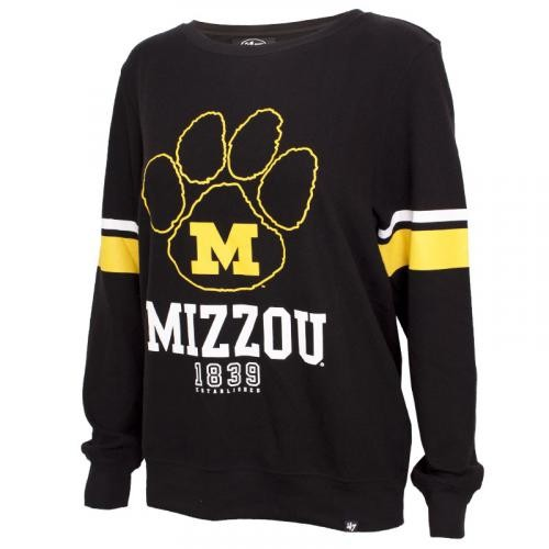 Mizzou Juniors' Paw Print Black Crew Neck Sweatshirt