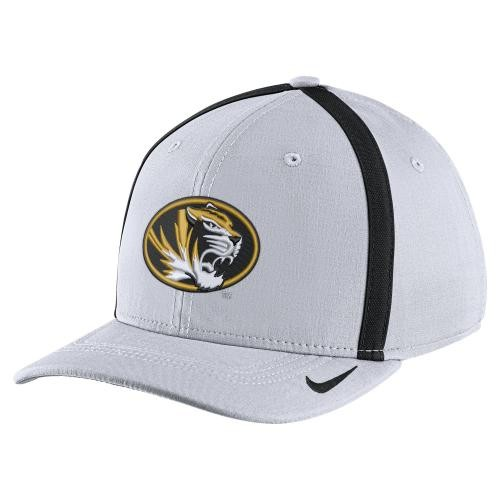 Mizzou Nike&reg Oval Tiger Head White Stretch-Fit Hat