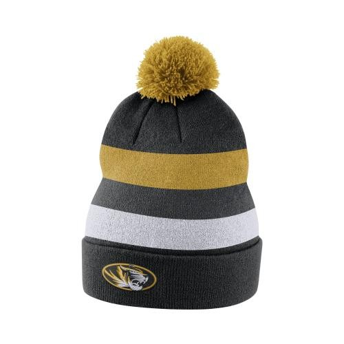 Mizzou Nike&reg Black & Gold Beanie with Removable Pom