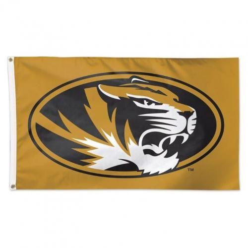 Mizzou Oval Tiger Head Gold Flag