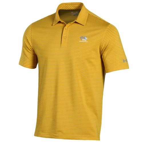 Mizzou Under Armour Bright Gold Striped Polo
