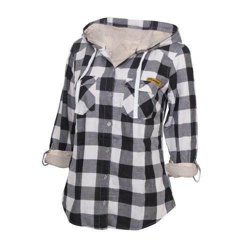 Missouri Women's Black & White Button Down Flannel Hoodie