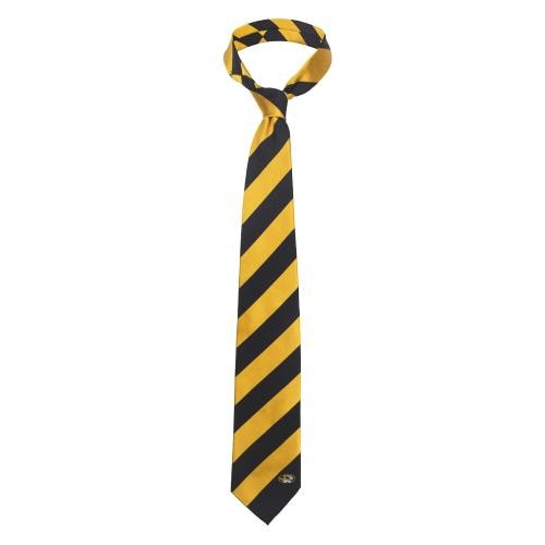 Mizzou Black & Gold Striped Silk Tie