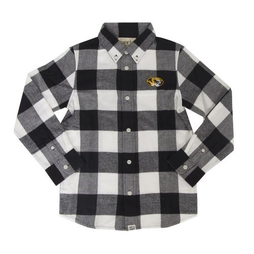 Mizzou Kids' Oval Tiger Head Black & White Dress Shirt