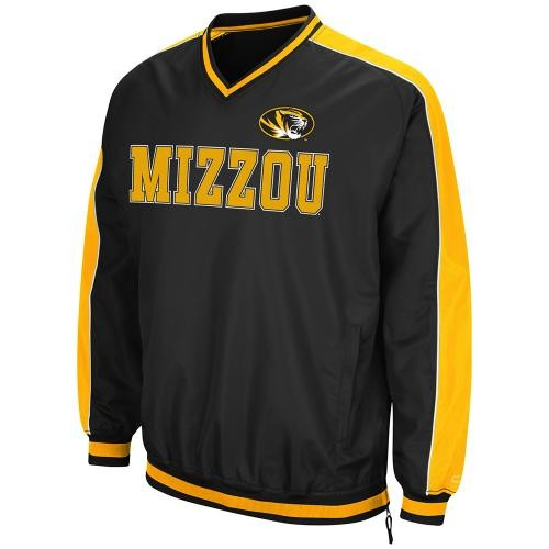 Mizzou Oval Tiger Head Black & Gold V-Neck Windshirt