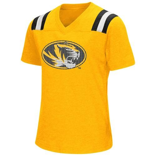 Mizzou Girls' Sequin Oval Tiger Head Gold V-Neck T-Shirt