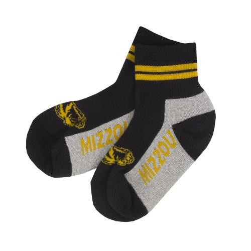 Mizzou Tiger Head Black & Grey Ankle Socks