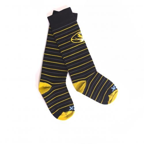 Mizzou Kids' Oval Tiger Head Black & Gold Striped Socks