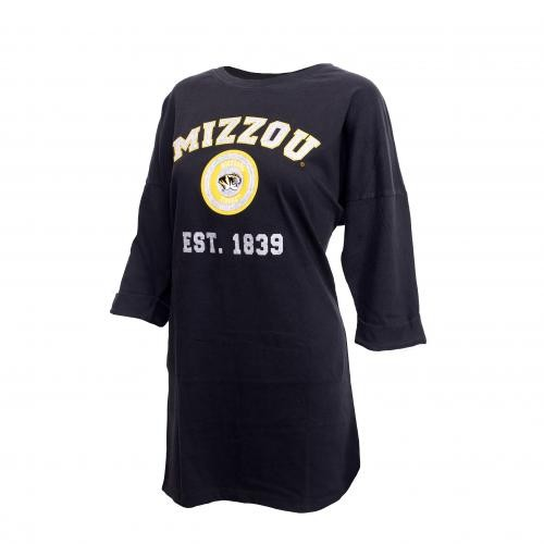 Mizzou Women's 3/4 Sleeve Black Tunic Dress