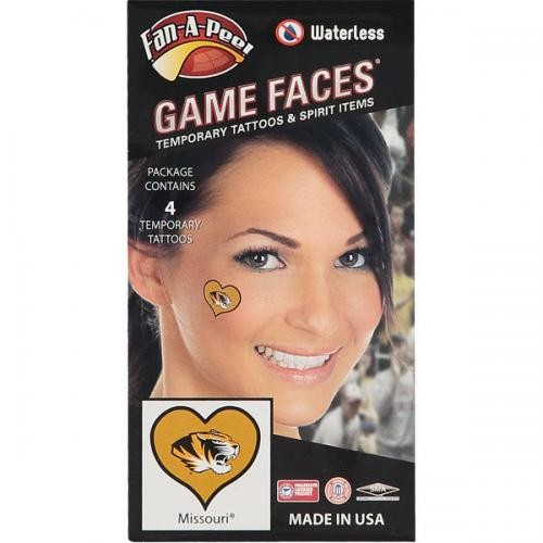 Mizzou Tiger Head Heart Temporary Tattoos