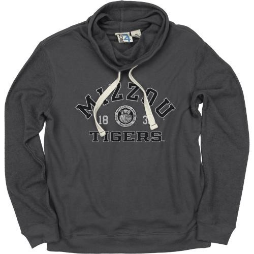 Mizzou Tigers Juniors' Charcoal Funnel Neck Sweatshirt