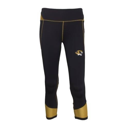 Mizzou Juniors' Black & Gold Athletic Capris