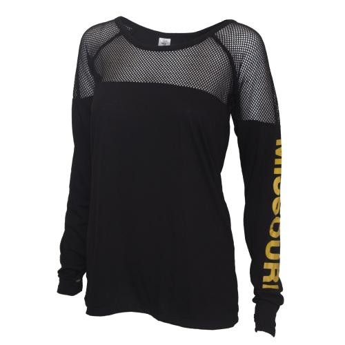 Missouri Juniors' Black Mesh Crew Neck Shirt
