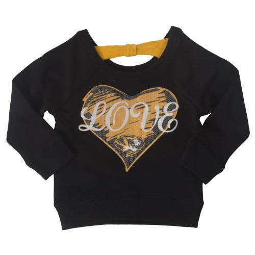 Mizzou Love Toddler Black Crew Neck Sweatshirt