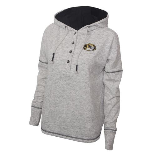 Mizzou Juniors' 1/4 Button Down Off White Hoodie