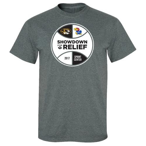 Mizzou Basketball Showdown for Hurricane Relief 2017 Dark Grey Crew Neck T-Shirt