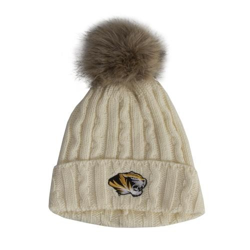 Mizzou Women's Cream Cuffed Beanie with Faux Fur Pom
