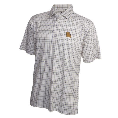 Mizzou Horn Legend State Outline White Polo