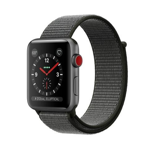 Apple Watch Series 3 GPS + Cellular, 42mm Space Gray Aluminum Case with Dark Olive Sport Loop