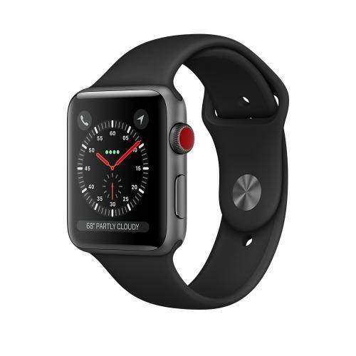 Apple Watch Series 3 GPS + Cellular, 42mm Space Gray Aluminum Case with Black Sport Band