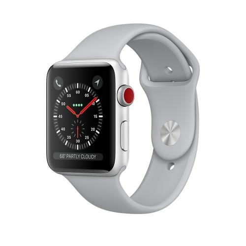 Apple Watch Series 3 GPS + Cellular, 42mm Silver Aluminum Case with Fog Sport Band