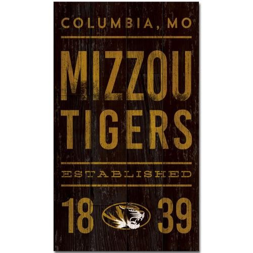 Mizzou Tigers 1839 Black & Gold Wood Sign
