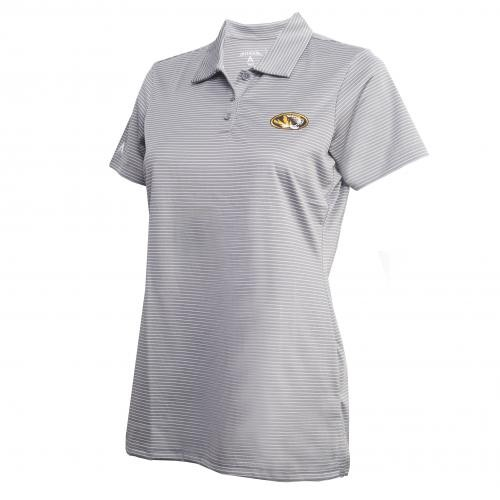 Mizzou Antigua Women's Grey & White Striped Polo