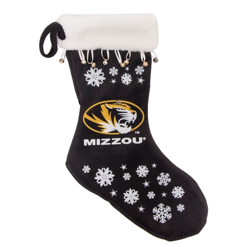 Mizzou Oval Tiger Head Black Snowflake Stocking
