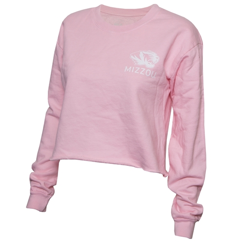 Mizzou Juniors' Tiger Head Light Pink Cropped Sweatshirt