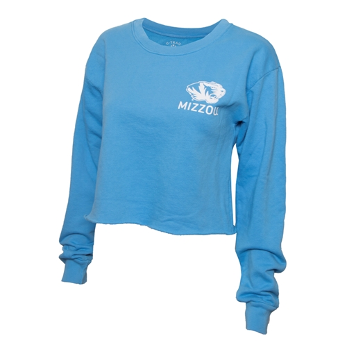 Mizzou Juniors' Tiger Head Light Blue Cropped Sweatshirt