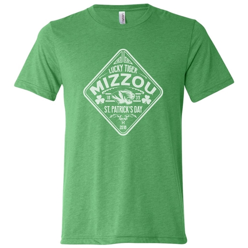 Mizzou St. Patrick's Day 2018 Green Crew Neck T-Shirt