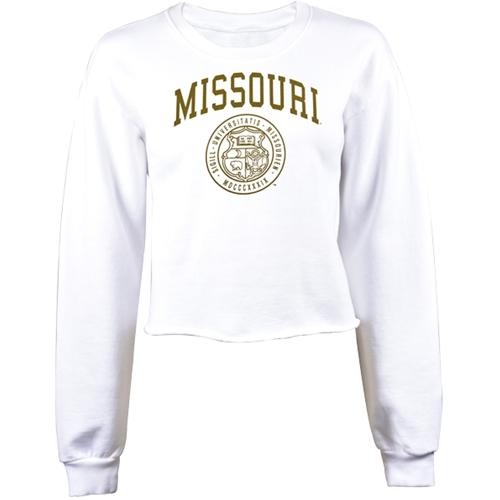 The Mizzou Store Missouri Juniors Official Seal White Crew Neck