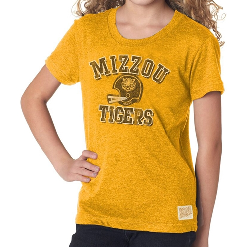 c937630a3ae6 Mizzou Tigers Classic Collection Kids' Vintage Football Helmet Gold T-Shirt