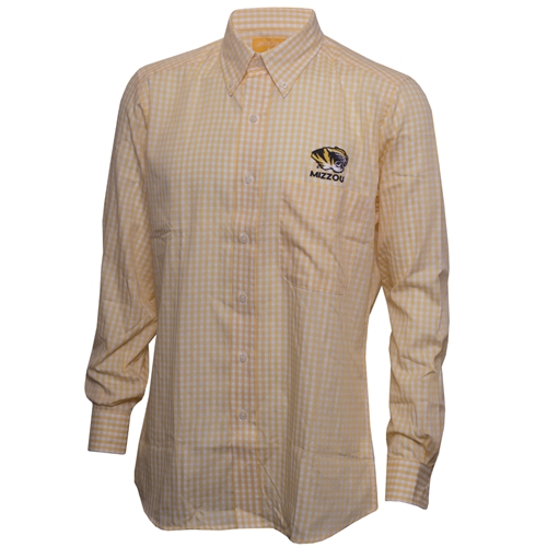 Mizzou Antigua Tiger Head Gold Checkered Dress Shirt