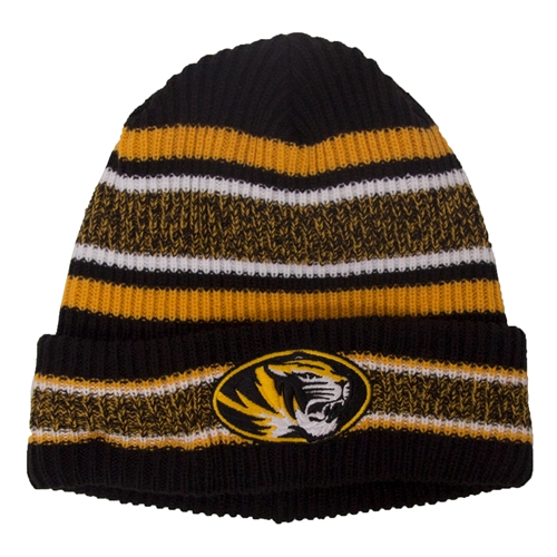 Mizzou Oval Tiger Head Black & Gold Striped Cuffed Beanie