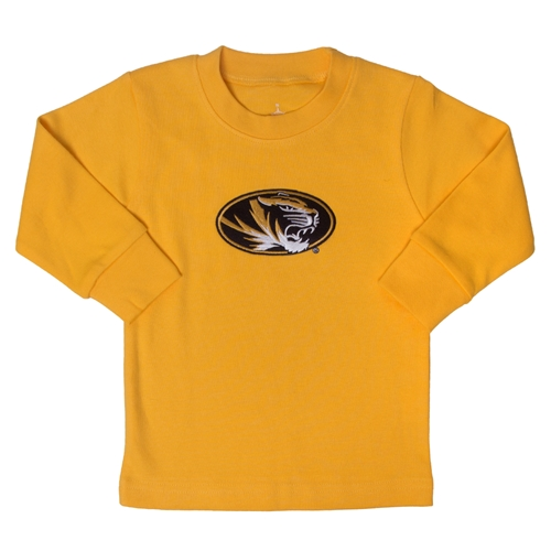 Mizzou Infant Oval Tiger Head Gold Crew Neck Shirt