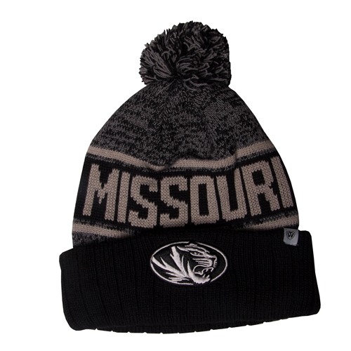 Mizzou Grey Tiger Head Beanie with Pom