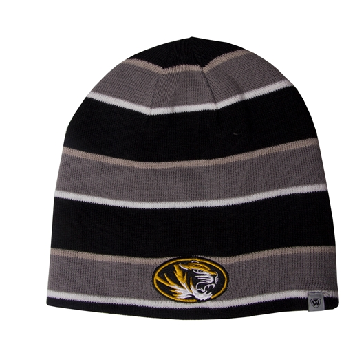 Mizzou Grey Striped Reversible Beanie