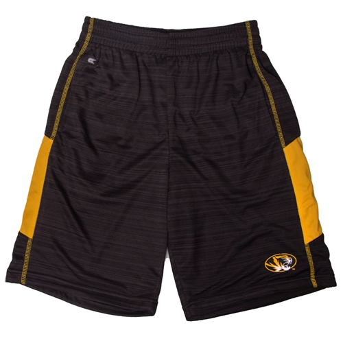 Mizzou Oval Tiger Head Black Shorts with Gold Siding