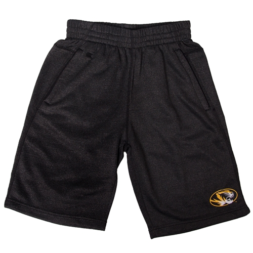 Mizzou Oval Tiger Head Black Terry Shorts