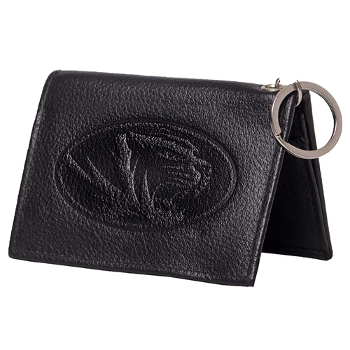 Mizzou 3x4 in. Black Leather Oval Tiger Head Wallet