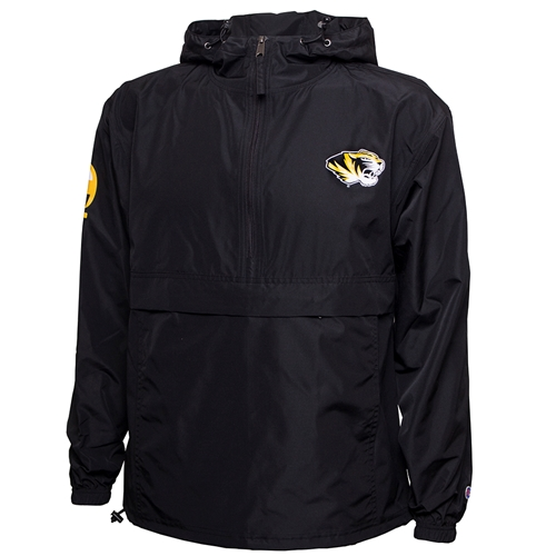 Mizzou Black 1/2 Zip Hooded Packable Rainbreaker