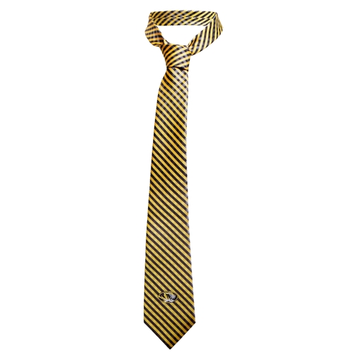 Black and Gold Oval Tiger Head Gingham Patterned Tie