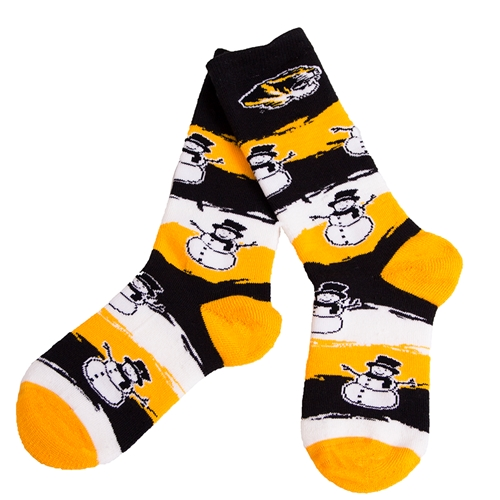 Mizzou Snowmen Black and Gold Socks